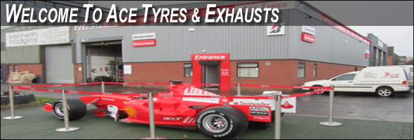Ace Tyres & Exhausts, Sandyford Industrial Estate, Dublin 18, Member of the First Stop Network, with Michael Schumacher�s Ferrari in the Foreground